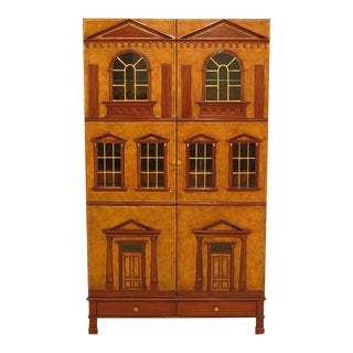 Maitland Smith Leather Wrapped House Form China Cabinet