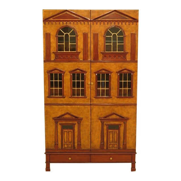 Maitland Smith Leather Wrapped House Form China Cabinet For Sale