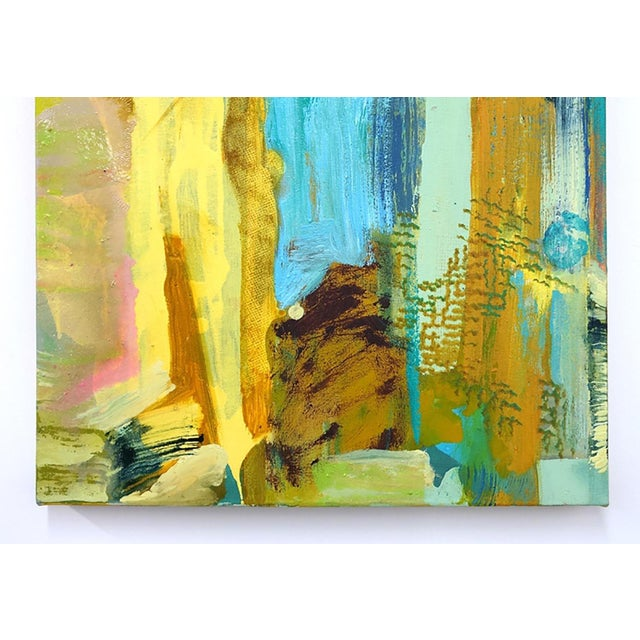 """Abstract Molly Herman """"Tremolo"""" Yellow Abstract Painting For Sale - Image 3 of 4"""