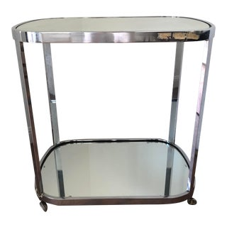 Mid Century Modern Chrome Cocktail Dry Bar Cart For Sale
