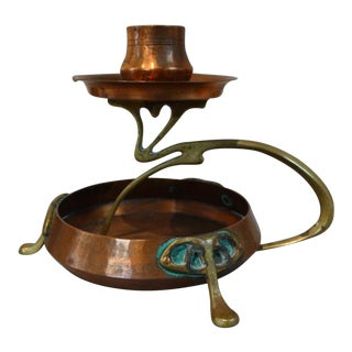 1900s Art Nouveau Secessionist Candle Holder in Copper and Brass For Sale