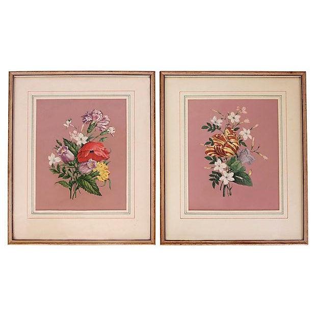 Vintage 1940s Pink Floral Bouquet Botanicals - Pair - Image 2 of 5