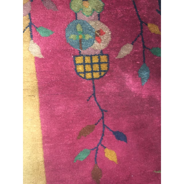 """Gold & Red Vintage Chinese Wool Rug - 2' x 3'10"""" For Sale - Image 11 of 11"""