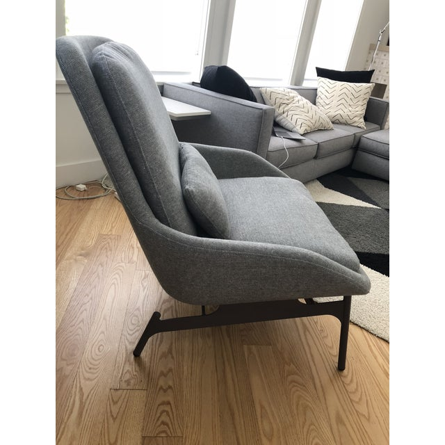 Contemporary Blu Dot Charcoal Wool Field Lounge Chair & Ottoman For Sale - Image 3 of 11