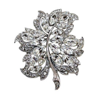 Bogoff Rhodium-Plated Crystal and Rhinestone Brooch, C1950s For Sale