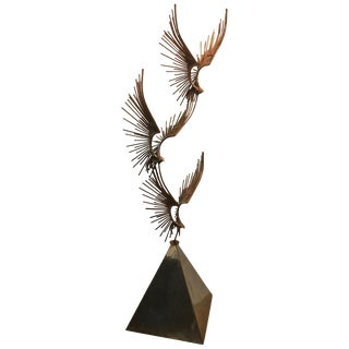 "Curtis Jere ""Eagle in Flight"" Chrome & Copper Sculpture For Sale"