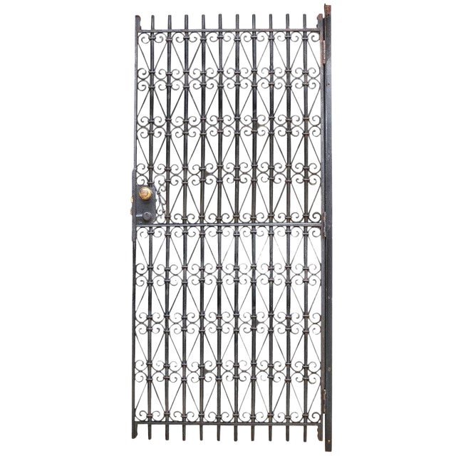 Vintage Industrial Wrought Iron Metal Arts Architectural Garden Gate Door For Sale
