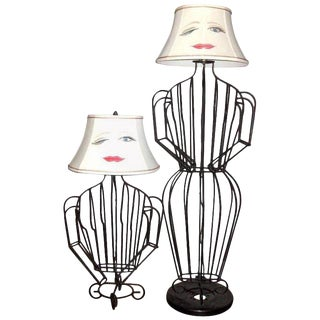 John Risley Black Steel Rod Sculptural Female Form Table Lamp and Floor Lamp Set - a Pair For Sale