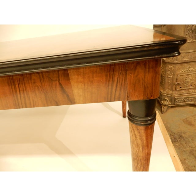 1940s 1940's French Veneered Walnut Dining Table For Sale - Image 5 of 7