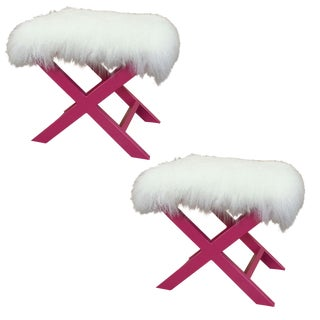 Pink X-Shape Sheepskin Benches - A Pair For Sale