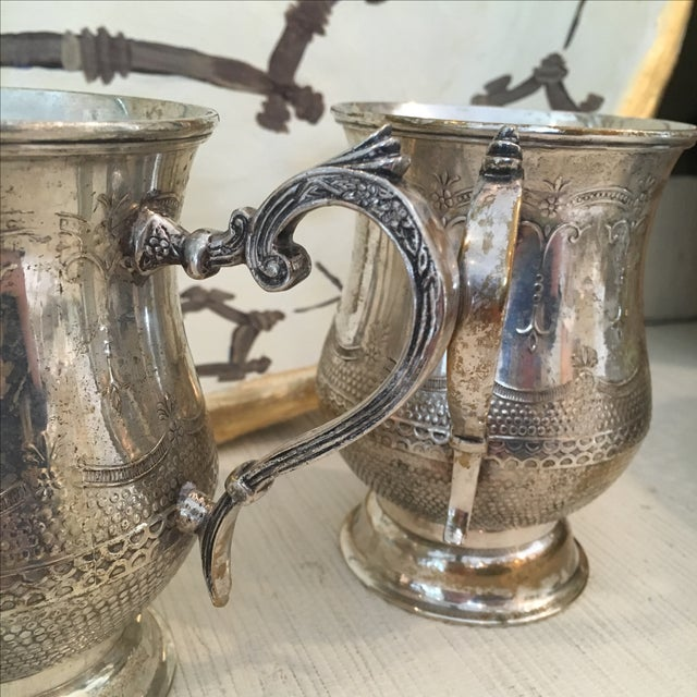 Mid 20th Century Vintage Silver Plated Etched Mugs/Tankards - Pair For Sale - Image 5 of 6