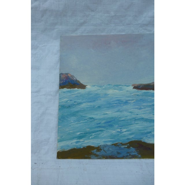 """Mid Century Painting """"Stormy Ocean,"""" H.L. Musgrave - Image 3 of 6"""