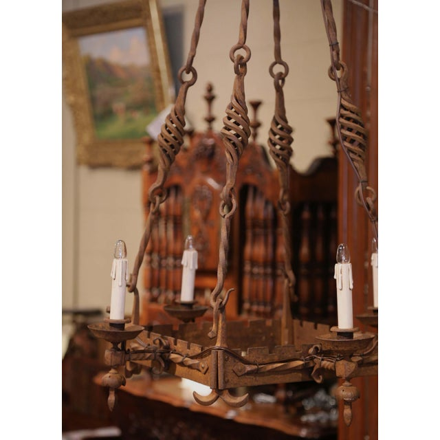 Metal 19th Century French Gothic Square Wrought Iron Four-Light Chandelier For Sale - Image 7 of 9