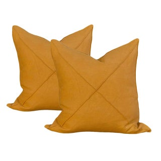 Transitional Harvest Gold Linen Pillows - a Pair For Sale