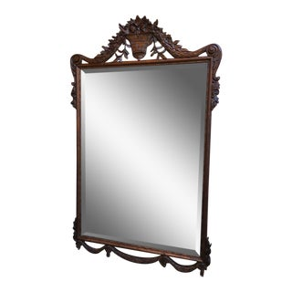 19th Century French Carved Oak Frame Pier Wall Mirror