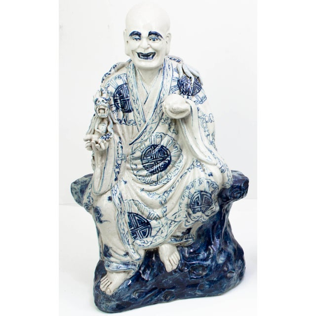 """Chinese Blue And White Porcelain Seated Immortals - A Pair Qing Dynasty Minor damage to each. 9"""" Wide x 6"""" Deep x 15.5"""" High"""