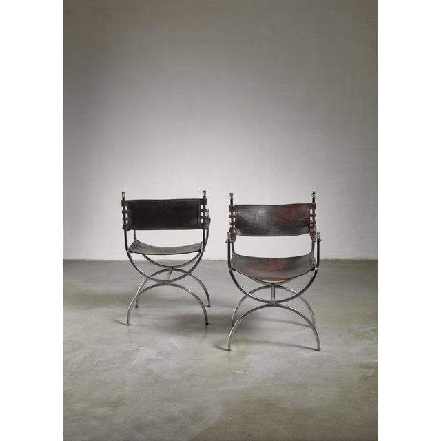 Mid-Century Modern Pair Maison Jansen Side Chairs, France, 1970s For Sale - Image 3 of 5