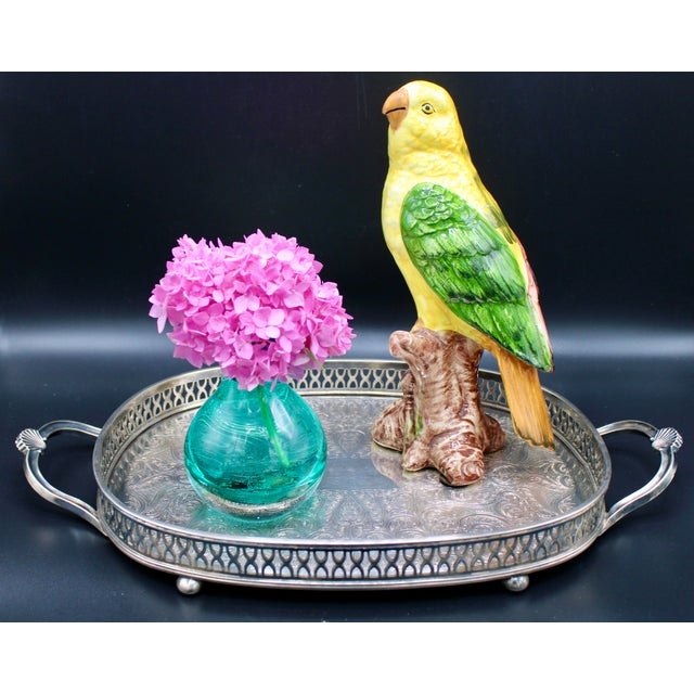 1960s Yellow and Green Italian Majolica Ceramic Parrot Figurine For Sale - Image 12 of 13