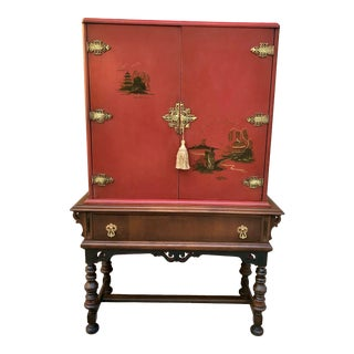 Chinese Red Cabinet or Dry Bar For Sale