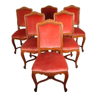 1950's Louis XVI French Provincial Maple Dining Chairs with Red Velvet Upholstery - Set of 6 For Sale