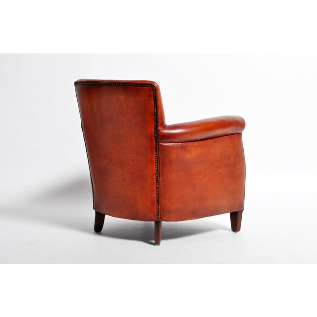 Wood French Leather Armchairs - a Pair For Sale - Image 7 of 13