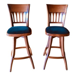 Contemporary Custom Bar Stools With Cushioned Seats - a Pair