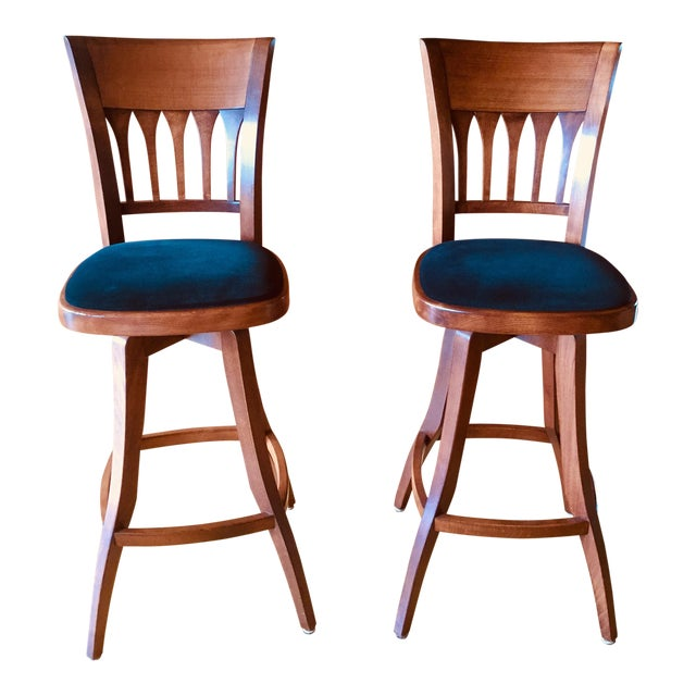 Contemporary Custom Bar Stools With Cushioned Seats - a Pair For Sale
