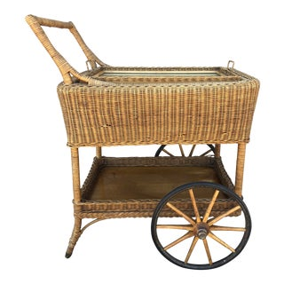 Early American Antique Wicker Tea Trolley/Bar Cart For Sale