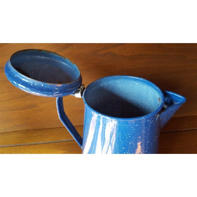 Vintage Blue Enamel Graniteware Enamel Tea Kettle For Sale - Image 10 of 13