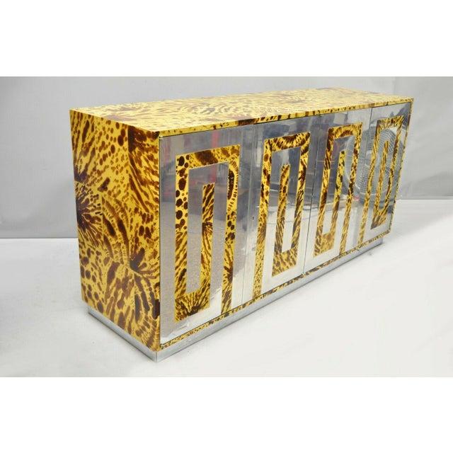 Vintage Mid Century Modern Milo Baughman Style Chrome Greek Key Oil Drop Lacquer Credenza Cabinet. Item aluminium Greek...