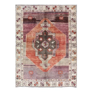 Keivan Woven Arts, En-140100, Tribal Vintage Turkish Oushak Rug With Aubergine, Purple and Soft Rust Red For Sale