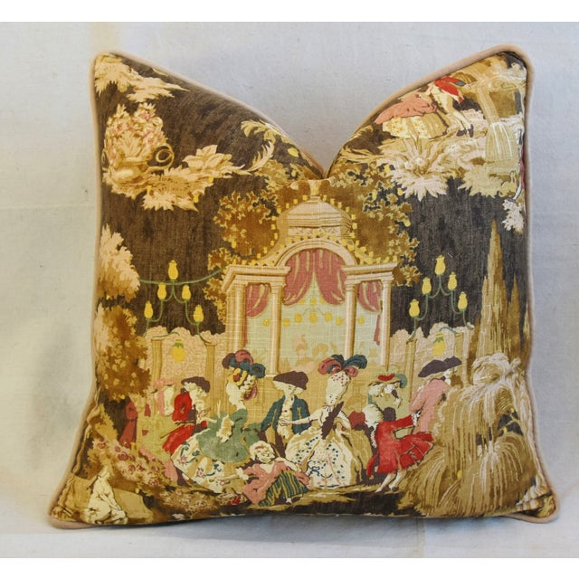 "Early 21st Century Louis XVI-Style Romantic Grand Ball Linen Feather/Down Pillows 23"" Square - Pair For Sale - Image 5 of 13"