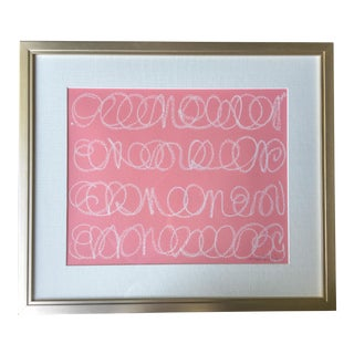 White Love Notes on Pink Acrylic Painting For Sale