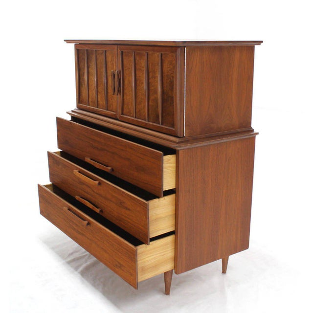 Lacquer Sculptural Carved Pulls Walnut Multi Drawer Gentelmen's High Chest For Sale - Image 7 of 8