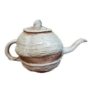 Vintage 1979 Large Teapot Clay Sculpture by Lorraine Schorling For Sale