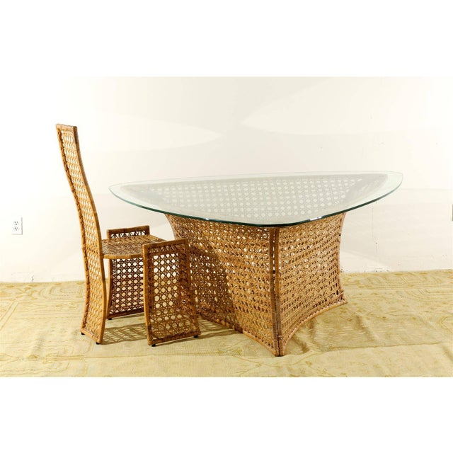 1970s Fantastic Vintage Rattan Triangle Base Dining or Game Table by Danny Ho Fong For Sale - Image 5 of 9