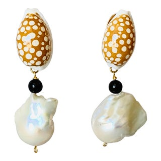 Baroque Shell and Pearl Earrings For Sale