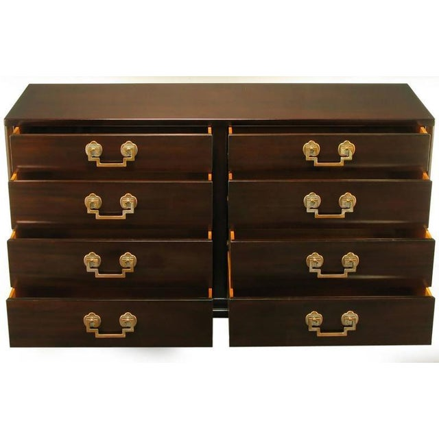 Asian Landstrom Furniture Ribbon-Mahogany and Distressed Nickel Eight-Drawer Dresser For Sale - Image 3 of 8