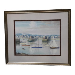 Vintage 1940 Coastal Quai Port Ship Harbor Oil on Paper Painting For Sale