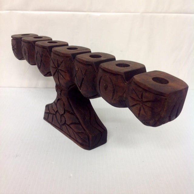 Rustic Mid-Century Hand Carved Candelabra, Signed Sito For Sale - Image 3 of 6
