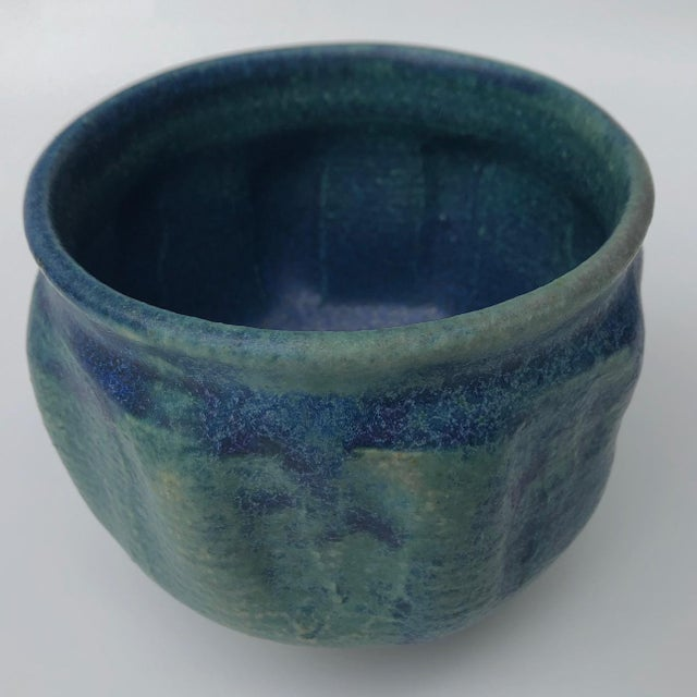 Mid 20th Century Mid-Century Blue Green Glazed Studio Pottery Bowl / Planter For Sale - Image 5 of 13