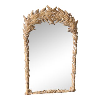 1970s Boho Chic Leaf Serge Roche Palm Frond Wall Mirror