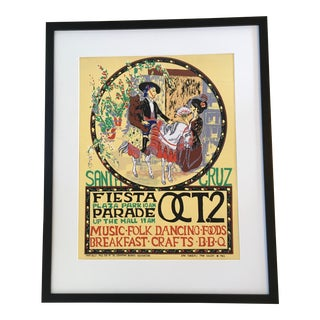 Vintage California Mission Fiesta Poster, Framed For Sale