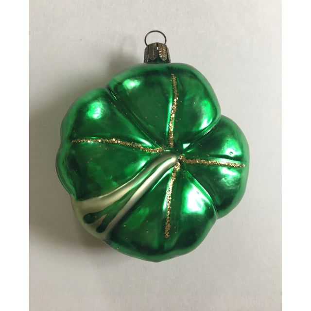 Vintage Floral and Shamrock Shaped Glass Christmas Tree Ornaments - Set of 4 For Sale - Image 4 of 11