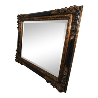 Timeless Reflections French Victorian Renaissance Style Black and Gold Carved Mantel Mirror For Sale