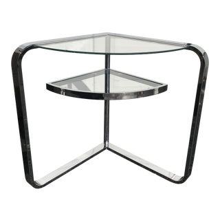 20th Century Space Age Quarter Moon Chrome and Glass End Table For Sale