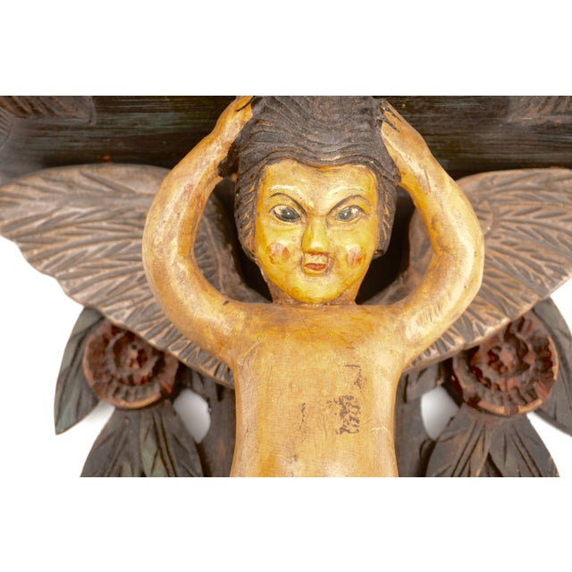 Hand-Carved Victorian Putti Angel Wall Shelf | Large Demilune Nude Winged Angel Wall Display | Religious Gothic Dimensional Decor For Sale In Los Angeles - Image 6 of 12