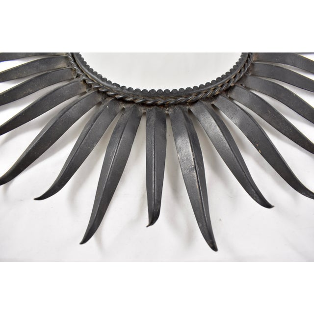 French Mid-Century Black Wrought Iron Tapered Ray Sunburst Wall Mirror For Sale - Image 10 of 13