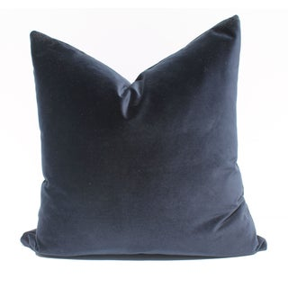 Indigo Blue Italian Velvet Pillows - A Pair