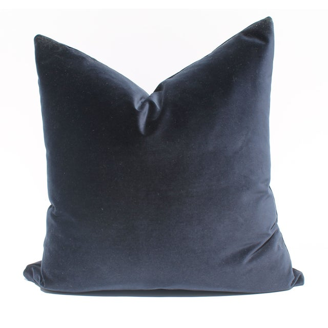 Indigo Blue Italian Velvet Pillows - A Pair - Image 1 of 2
